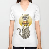 returns V-neck T-shirts featuring Ancient Cat Returns by Fathi
