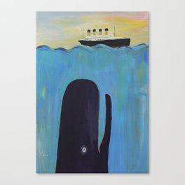 Moby Dick Meets the Titanic Canvas Print