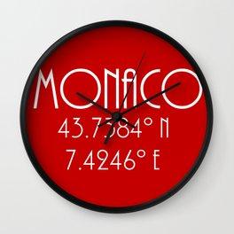 Monaco Latitude Longitude Wall Clock