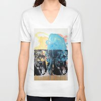 tigers V-neck T-shirts featuring YAWNING TIGERS by Brandon Neher