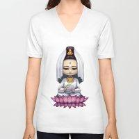 budi satria kwan V-neck T-shirts featuring Kwan Yin  by Lurraeh Somohano
