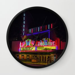 Night Lights Fremont Theater, San Luis Obispo, California Wall Clock
