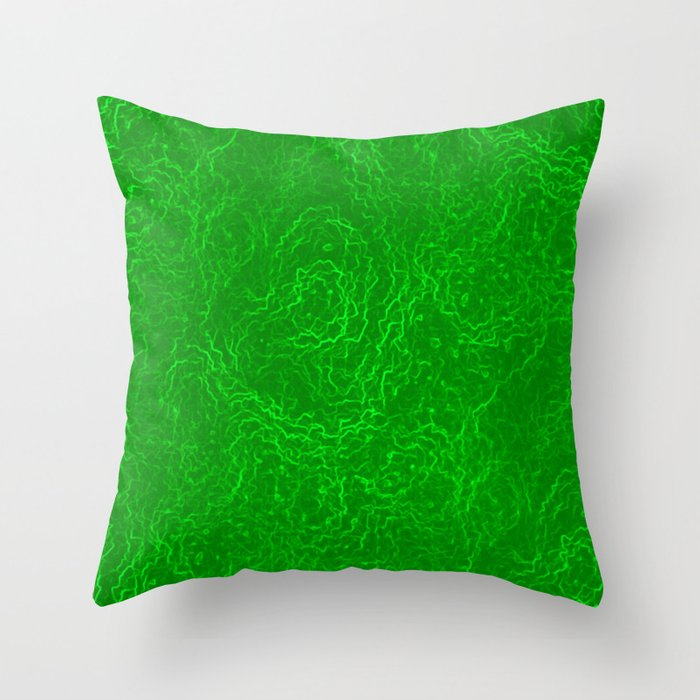 Neon Green Alien DNA Plasma Swirl Throw Pillow