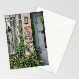 Frech door with overgrown plants | Travel photogrpahy in Saint-Paul-de-Vence, a town in France, South Europe Stationery Cards