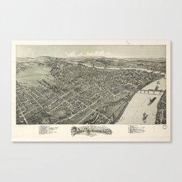 Aerial View of Parkersburg, West Virginia (1899) Canvas Print