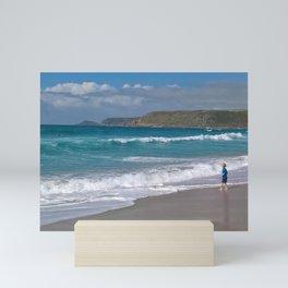 A beach in Cornwall Mini Art Print