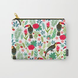 Floral Toucan Carry-All Pouch