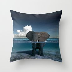 elephant in the sea Throw Pillow