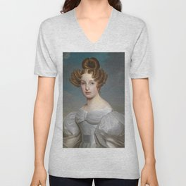 Portrait of Elise Dorothea Friederike by Ernst Thelott Unisex V-Neck