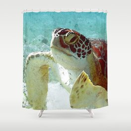 Watercolor Green Turtle Greeting Shower Curtain
