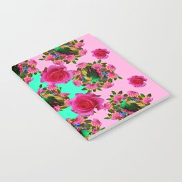 GREEN PEACOCK &  PINK ROSE GARDEN PINK PATTERN Notebook