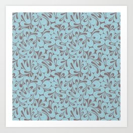 Teal and coffee hand drawn elegant surface pattern Art Print
