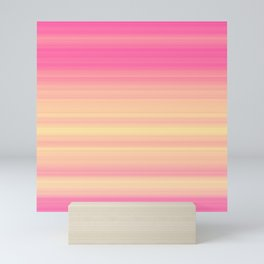 Pink Yellow Gradient Stripes Mini Art Print