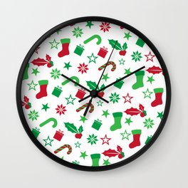 Red And Green Christmas Objects Decor Wall Clock