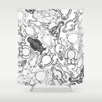 sticker Shower Curtains featuring Goon Sticker Slap by Jon Hoeveler