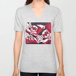 TRICHROMATIC DELIRIUM RED BLACK WHITE Unisex V-Neck