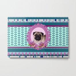Frame Pug - Mops colorful Pattern Metal Print