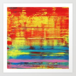 Sunny Sunset, Colorful Abstract Art Art Print