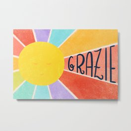 Grazie Rainbow Sun Metal Print