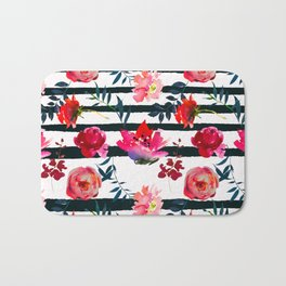 Black white pink floral watercolor stripes pattern Bath Mat