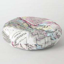 1872 Map of California and San Francisco Floor Pillow