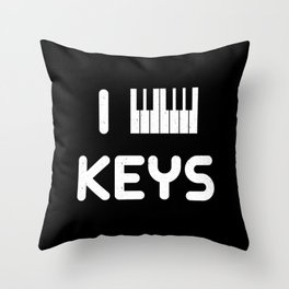 I heart Keys Throw Pillow