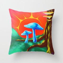 Fairy Toadstools Throw Pillow