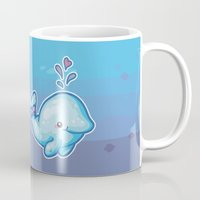 polkadot Mugs featuring PolkaDot Whale by Byte Size Treasure