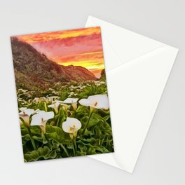 'Calla Lily Sunrise at Big Sur' Portrait Painting by Jeanpaul Ferro Stationery Cards