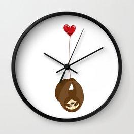Sloth with Heart Balloon Wall Clock