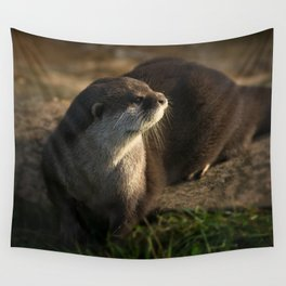 Otter Looking Into The Sunshine Wall Tapestry