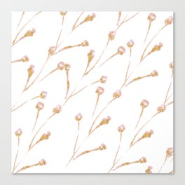 Delicate Blossom Pink + Gold Glitter Canvas Print