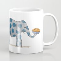 pie Mugs featuring polka dot elephants serving us pie by Marc Johns