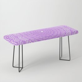 Spiral Mandala (Violet Purple) Curve Round Rainbow Pattern Unique Minimalistic Vintage Zentangle Bench