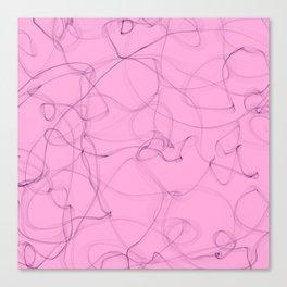 Creamy Strawberry pink cigar smoke lines design Canvas Print