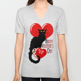 Le Chat Noir with Chocolate Candy Gift Unisex V-Neck
