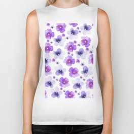 Modern purple lavender watercolor floral pattern Biker Tank