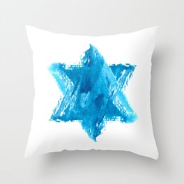 Star of David Blue Watercolor Throw Pillow