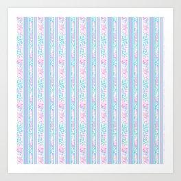 Lipstick Pink Roses and Butterflies - Stripes Art Print