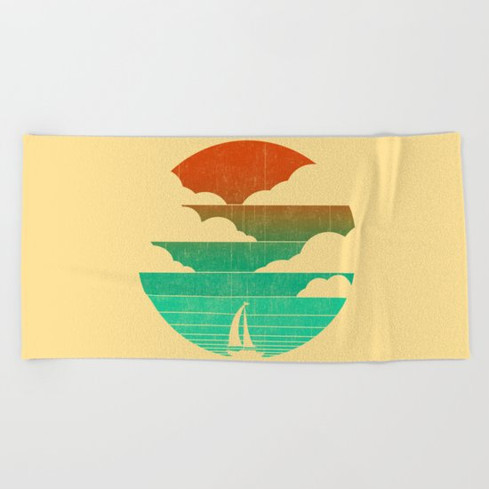 Go West (sail away in my boat) Beach Towel