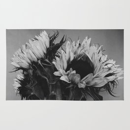 Black and White Sunflowers Rug