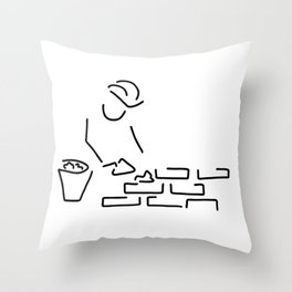 bricklayer construction worker building Throw Pillow