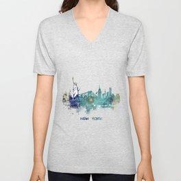 New York City Skyline blue Unisex V-Neck