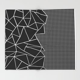 Abstract Grid Outline White on Black on Side Throw Blanket