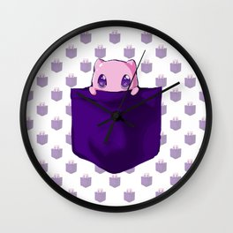 Pinkie Mew In The Pocket Wall Clock