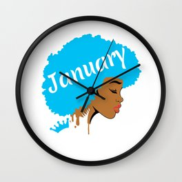Black Women Birthday Gift Queens Are Born In January Product Wall Clock