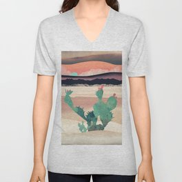 Desert Dawn. Nature abstract art. Vintage illustration. Unisex V-Neck
