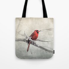 Male Cardinal Braving the Cold Tote Bag