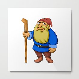 Cute Cartoon Garden Gnome Metal Print