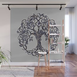 Tree of Life Silver Wall Mural